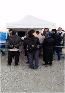 Refugees receiving food