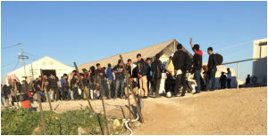 A group of refugees moving to FYROM border